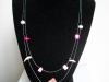 Pink shell necklace with double tier suspended shells and beads - $18